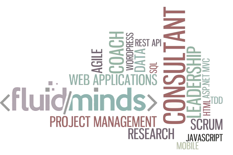 Fluid Minds Consulting service represented by a word cloud of services offered