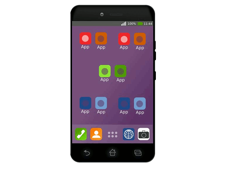 Fluid Minds Mobile development service represented by smartphone showing app icons